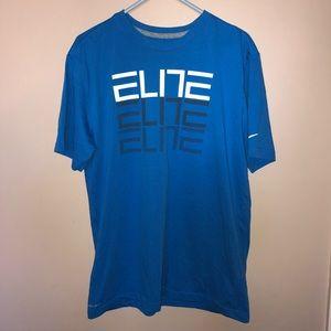 Nike Dri- Fit Elite Graphic Blue Athletic Tee Lg